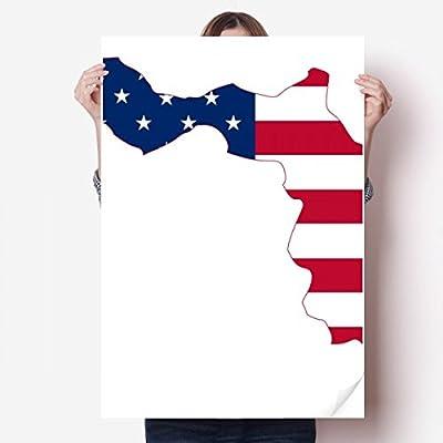DIYthinker Florida USA Map Stars Stripes Flag Shape Vinyl Wall Sticker Poster Mural Wallpaper Room Decal 80X55cm