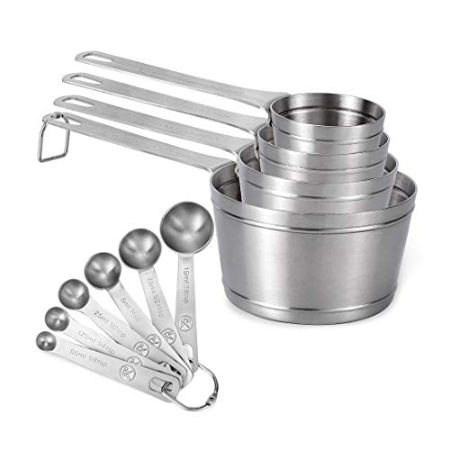 Measuring Cups and Spoons Set of 10 piece in 18/8 Stainless Steel, Kitchen Stackable 4 Measuring Cups and 6 Measuring Spoons for Dry and Liquid Ingredients