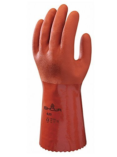 SHOWA Atlas 620 Fully Coated Double-Dipped PVC Glove, Seamless Knitted Liner, Chemical Resistant, 12'' Length, Large (Pack of 12 Pairs)