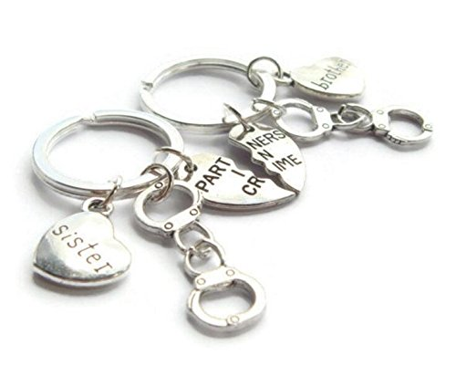 (Brother & Sister Keychains ~ Partners In Crime Set, Best Friends Keyrings, Best Guy Friend Gift, Quirky BFF Present, Friendship Half Hearts)