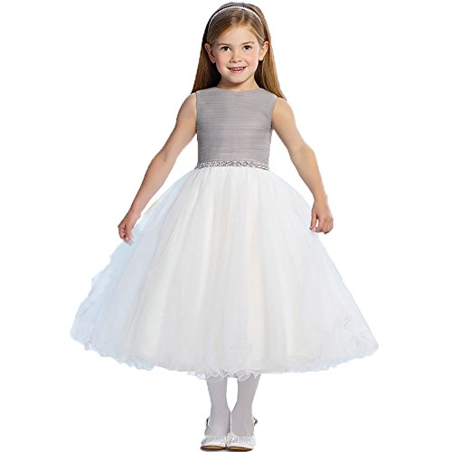(Dzdress Wedding Pageant Flower Girl Dress with Beading White Fluffy 6 Grey)