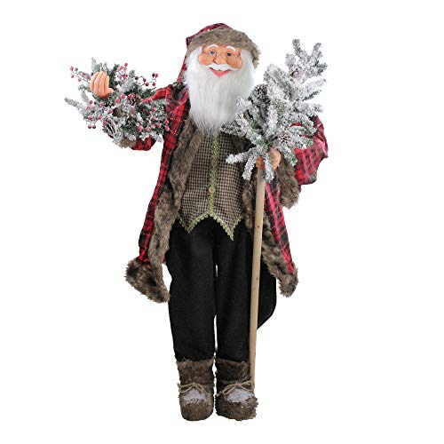Northlight 5' Standing Jolly Santa Claus Christmas Figure with Flocked Alpine Tree and Wreath