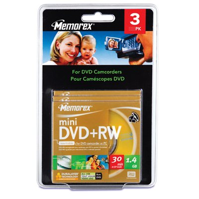 Imation 4x DVD+RW Media - 1.4GB - 80mm Mini - 3 Pack Blister Pack