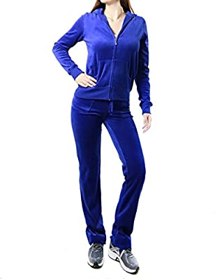 FandS-JO23019 Women's Fashion Hoodie Velour 2 piece Set