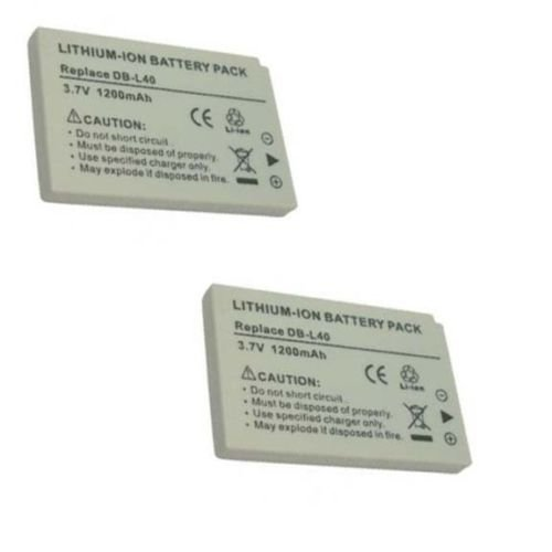 2 Batteries DB-L40 DB-L40A DB-L40AU for Sanyo DMX-HD1, Sanyo DMX-HD2, Sanyo DMX-HD15, Sanyo (Db L40 Replacement Battery)