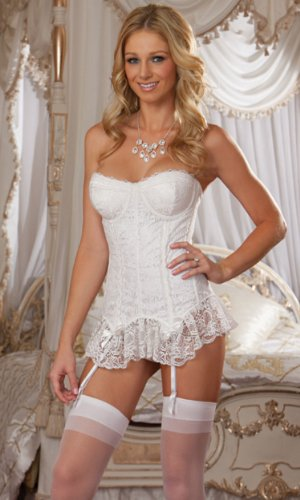Lace Overlay Fully Boned Bustier Bridal Lingerie Set by Dreamgirl White ()