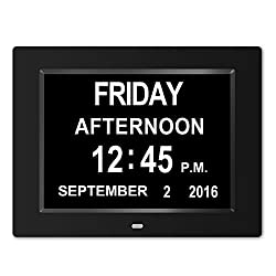 The Original Memory Loss Digital Calendar Day Clock with Extra Large Non-Abbreviated Day & Month.8inch LED with Extra Large Day, Month,Time for Elderly (Black) , Perfect for Mom Dad And Seniors