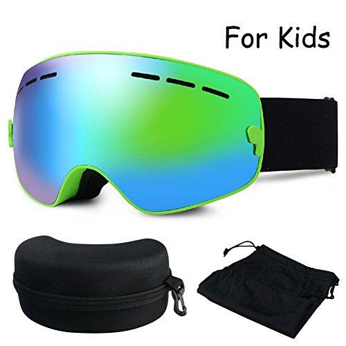 ZNY Kids Ski Goggles, Children Frame-less Ski Snowboard Skate Goggles With Anti Fog PC Lens 3 Layer Comfortable Foams Detachable Strap (Kids, Revo Mirror Green, VLT 24.3%)