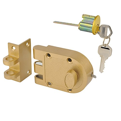 SUMBIN Jimmy Proof Deadbolt,Single Cylinder Rim Door Locks With Keyed For Entry Door,Gold Finish