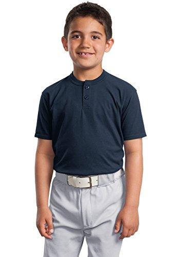 Sport-Tek YT210 Youth Short Sleeve Henley - Navy YT210 - Sport Henley
