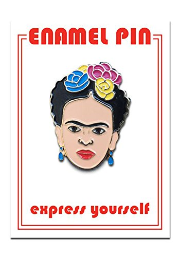 Female Artist Enamel Lapel Pin (Frida Kahlo Self Portrait) (Gold Enamel Portrait)