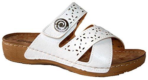 Gezer - Sandalias de vestir para mujer white button