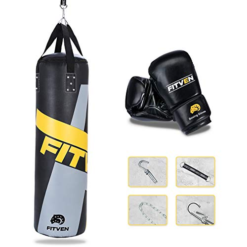 FITVEN Punching Bag 50-Pound for Adults Youth Kids with Wall Mount/Boxing Gloves Heavy Bag for Kickboxing – 50 lbs