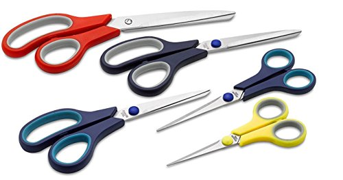 5 Value Pack Stainless Steel Multi-Purpose Scissors Set Comfort Grip Handles For Fabric,Leather,Canvas,Vinyl,Paper,Clothes,Shoes,Kitchen,Sewing,Arts and Crafts (5 Piece Value (Leather Photo Pack)