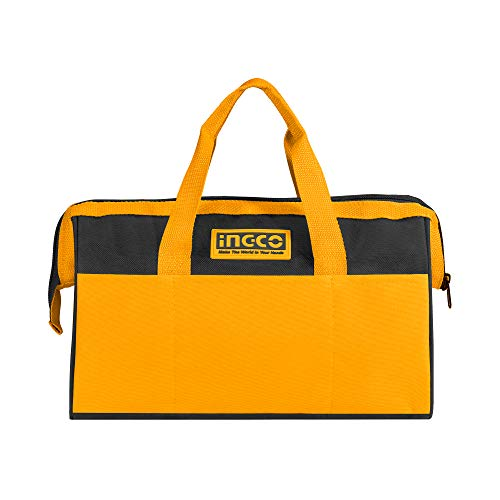INGCO 16 Inch Tool Bag Organizer with Wide Mouth Water-proof Multi-use Tool Tote Bag for Construction Carpentry Gardening Electrician Home DIY HTBG28161
