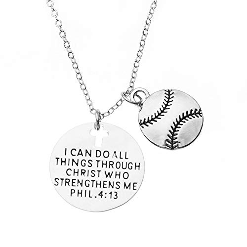 Softball Christian Necklace, Faith I Can Do All Things Through Christ Who Strengthens Me Phil. 4:13 Pendent, Scripture Jewelry Christian Gifts Verse Bible Gift for Softball Players