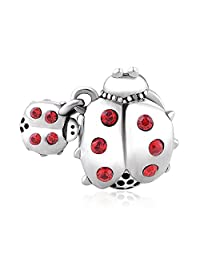 925 Sterling Silver Charm - Lovans Ladybug Owl Animal Charm Bead - Fit for Pandora Bracelets