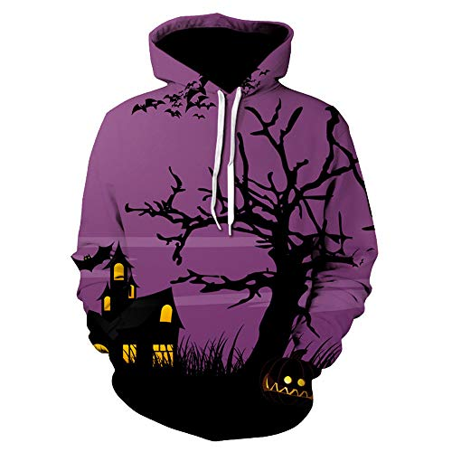 Halloween Costumes for Couples,WUAI Clearance Unisex Hoodie Sweatshirt Casual 3D Print Loose Fit Fahion Tops(purple,US Size L = Tag XL) -