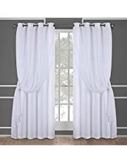 Exclusive Home Catarina Layered Solid Blackout and Sheer Grommet Top Curtain Panel Pair, Winter White, 52x84, 2 Piece
