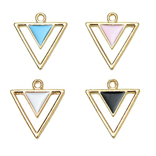 Monrocco 40 Pcs 4 Color Alloy Frame Triangle Charms 17x18mm Zinc Alloy Gold Plated Enamel Pendant for Necklaces Bracelets Jewelry - Gold Plated Enamel Charm