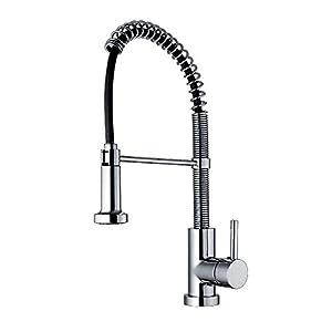 Whitehaus WH2070079 C Jem Collection Commercial Kitchen Faucet With  Flexible Spout   Polished Chrome