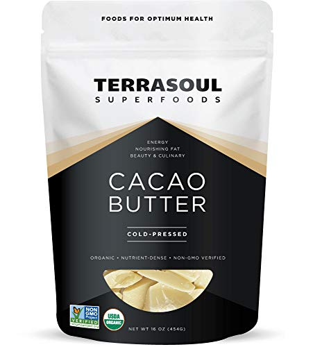 Terrasoul Superfoods Organic Cacao Butter, 1 Lb - Raw | Keto | Vegan | Unrefined (Sweet Wine Coconut)