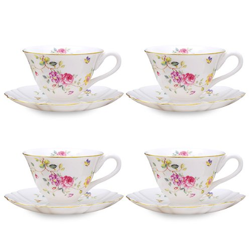 Gracie China by Coastline Imports Purple Floral Porcelain Tea Cup and Saucer, 7-Ounce, Set of 4