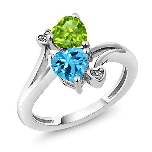 Gem Stone King 1.81 Ct Heart Shape Green Peridot Swiss Blue Topaz 925 Sterling Silver Ring (Size 5)