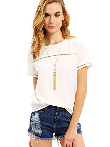 ROMWE Women's Loose Short Sleeve Round Neck Solid Summer T-shirt Tops Blouse White Medium by Romwe