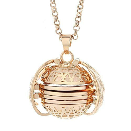 Binory Expanding Photo Locket Necklace Pendant Souvenir Angel Wings Gift Jewelry Decoration,Creative Fashion Clothing Accessory for Mother's Day Valentine Birthday Gift(Rose Gold)