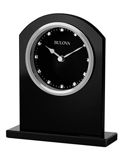 Bulova Ebony Crystal Desk Clock, Black