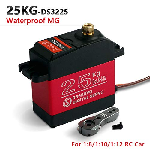 ZOSKAY Waterproof High Torque Metal Gear Standard Digital Servo 25KG/0.13S 6.8V for 1/8 1/10 RC Cars (Control Angle 270) ()