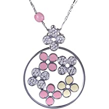Roberto Coin 18K White Gold Diamond Pave with Pink and Yellow Enamel Flowers Pendant Necklace