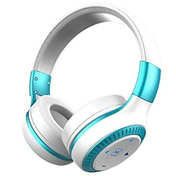 3D Sound Noise Canceling AUX Line in Wireless Bluetooth Headphone  White amp;Blue  Over Ear