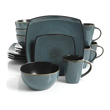 Gibson Home Soho Lounge Square Stoneware 16-piece Dinnerware Set - Teal