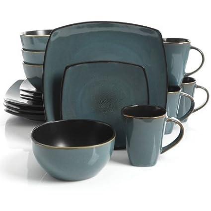Gibson Home Soho Lounge Square Stoneware 16-piece Dinnerware Set - Teal  sc 1 st  Amazon.com & Amazon.com   Gibson Home Soho Lounge Square Stoneware 16-piece ...