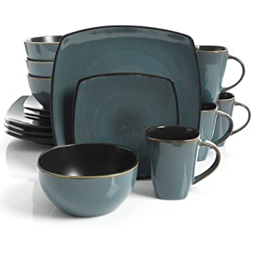 Amazon.com | Gibson Home Soho Lounge Square Stoneware 16-piece ...
