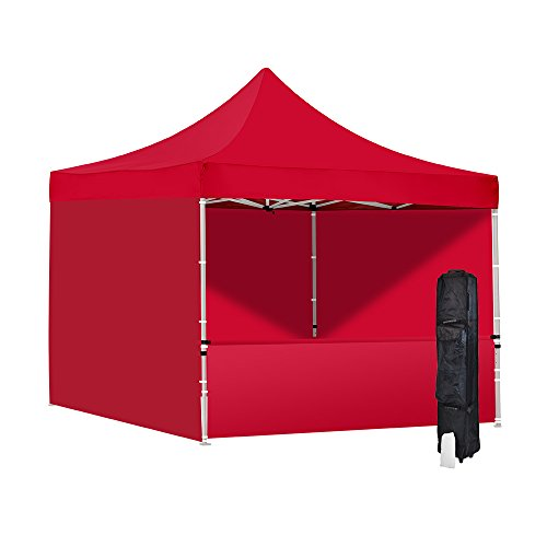 Vispronet 10x10 Red Canopy Tent- Resists up to 25mph Wind Gusts – Includes Commercial Grade Steel 10ftx10ft Frame, Water-Resistant Top, 3 Sidewalls, 1 Halfwall, Canopy Roller Bag, and Stake Kit