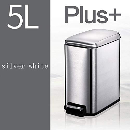 (KLSJJ Stainless Steel Trash Can with Lid with Pedals Rectangular Trash Can Home Creative Bathroom Living Room Bedroom Trash Can (Color : Silver))