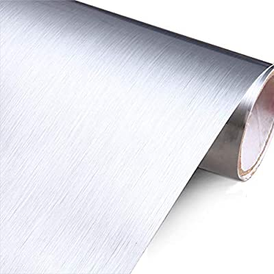 "YENHOME 24"" x 118"" Silver Brush Stainless Steel Contact Paper for Appliances Self Adhesive Vinyl Contact Paper Waterproof Peel and Stick Wallpaper Drawer ..."