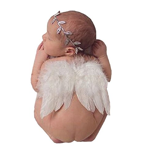 June Bloomy Baby Angel Feather Wings Photograph Props with Headband (White) ()