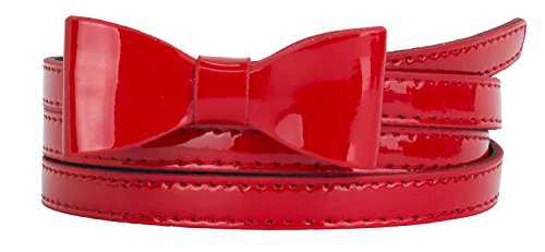 Red Skinny Belt (Womens Stylish Faux Patent Leather Skinny Belt with Mini Bow Accent (L(35.5