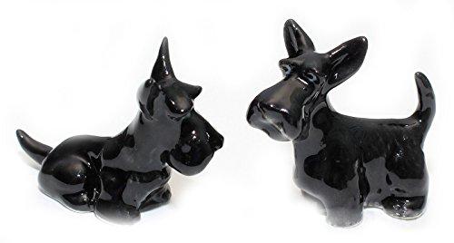 Grandroomchic Dollhouse Animal Miniature Handmade Porcelain Statue Ceramic Decorative 1/24 Scale 2 Black Scottish Terrier Dog Figurine Collectibles Gift