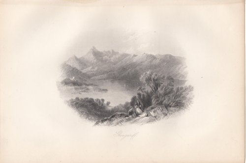 Glengariff Scene No. 2, Islands, Castle - 1846 Engraving