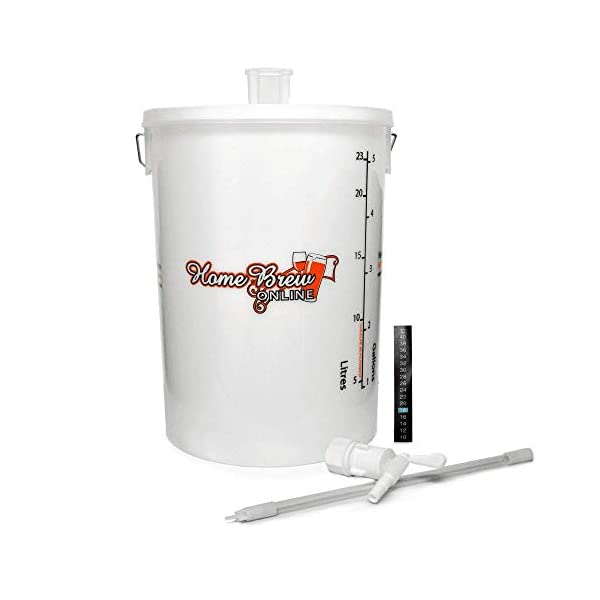 Home Brew Online Beer Making Fermenting Vessel Bucket with Little Bottler Bottling Stick Stick On LCD Thermometer and Smart Airlock