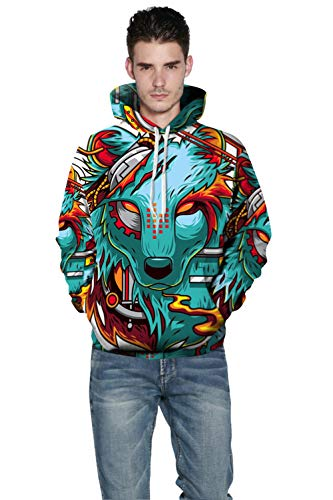 Hd Tasche Casual Stampa Cappuccio Yimiao 3d Con Colorato Coulisse Hoodie Lupo Sweatshirt Unisex Di Pullover Felpe awSS4cqCT
