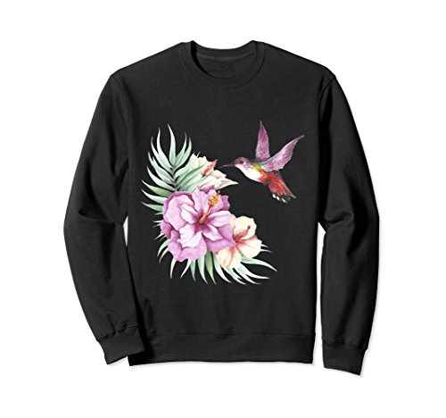 Unisex Hummingbird Hibiscus Watercolor Floral Sweatshirt XL: Black