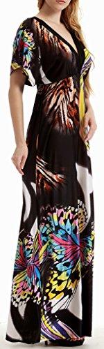Colletto Manica Farfalla Maxi V Donna da Mochoose nero Corta Abito Taglia a Boemo Stampato Spiaggia Lungo Grossa Estate txgwwz