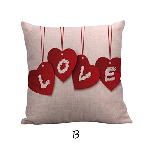 Happy Valentine's Day Pillow Cases,Han Shi Linen Home Decor Sofa Cushion Cover Pillowshamps (B, L)