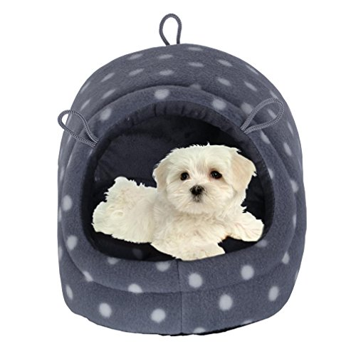 Nunubee Pet Dog Bed Pet Dog Cat Bed Kennel Pet Nest Cat Small Animal Waterloo Igloo Polka Dot M-13.6x13.6x9.6 Inch
